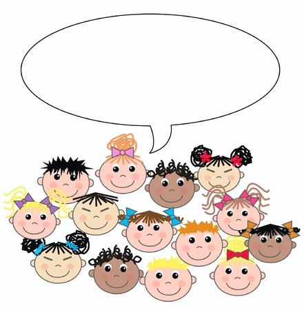 étnico mixto de niños Ilustración de vector