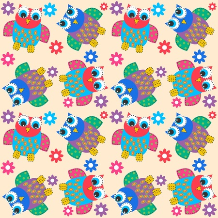 jpeg: seamless owl pattern
