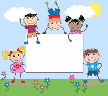 enfants: filles et gar�ons ethniques mixtes Illustration