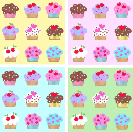 colourful images: cupcakes Illustration