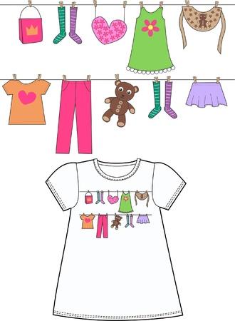 ropa colgada: patrones para ropa de niños Vectores