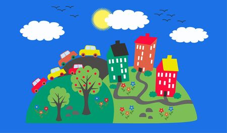 header image: a little town on a hill Illustration