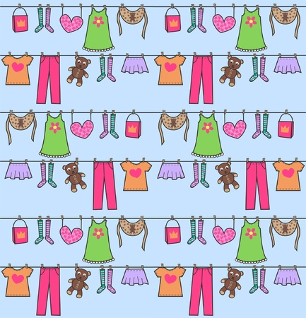 laundry line: seamless pattern