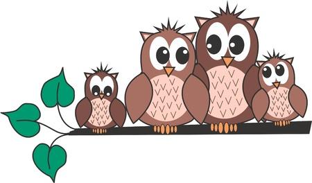 buhos y lechuzas: familia de b�ho Vectores