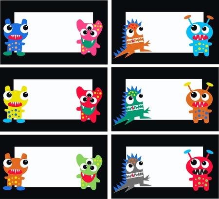 escuela infantil: tarjetas de monstruo Vectores