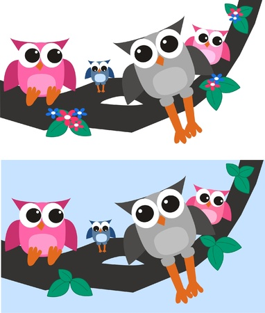 owl family Stock Vector - 10443249