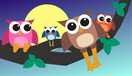 royalty: owl family Illustration