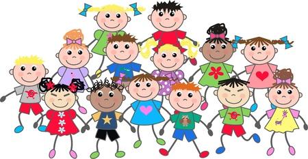 cartoons: gl�ckliche gemischten ethnischen Kinder