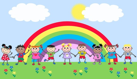 rainbow print: mixed ethnic children