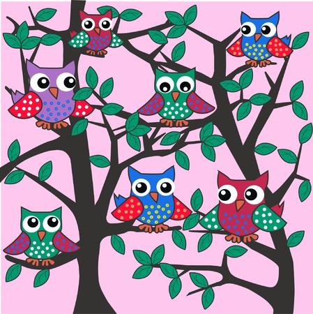 coloridos búhos sentado en un árbol