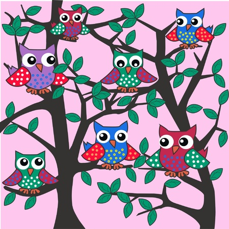colourful owls sitting in a tree Illustration
