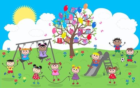niños en area de juegos: mezcladas étnicas niños felices Vectores