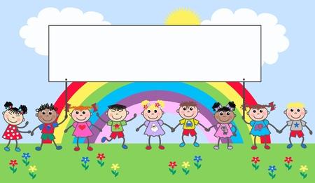 혼합 인종 행복한 아이들 일러스트
