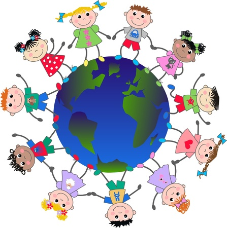 continente americano: niños multiculturales Vectores