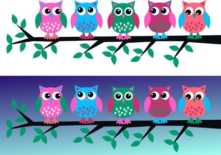 birdies: owls Illustration