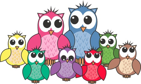 cute cartoons: a big cute colourful owl family
