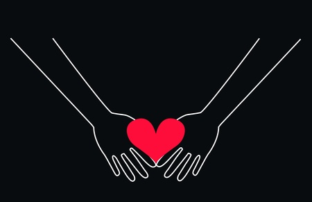 two hands holding a heart Vector