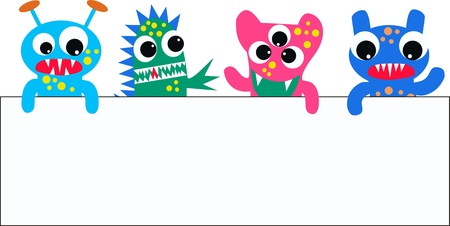monsters with a placard Vector
