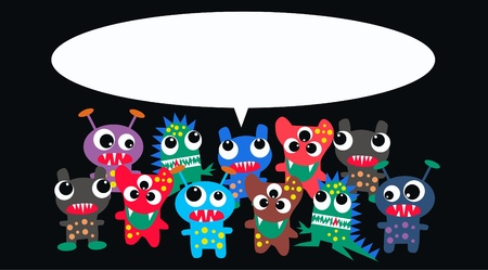 monsters with a message Stock Vector - 10787417
