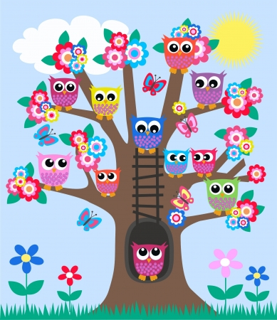 owl on branch: lot of owls in a tree Illustration
