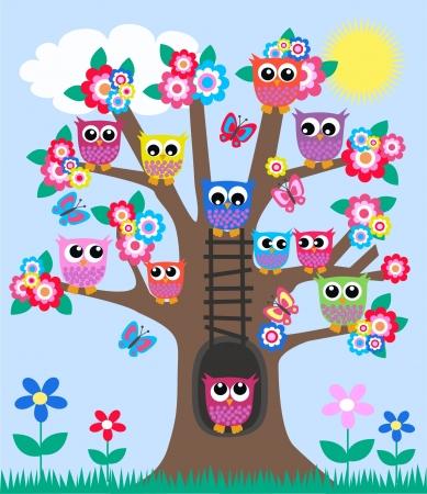 sowa: wiele owls in drzewo Ilustracja