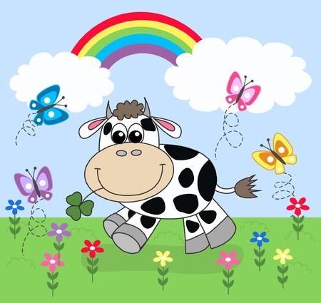 lizenzfrei: eine gl�ckliche Kuh Illustration