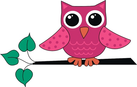 a cute little pink owl Vector