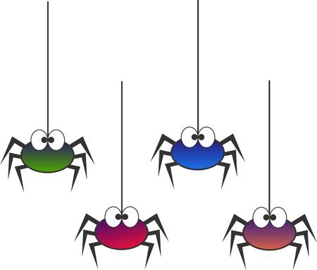 caricaturas de animales: arañas coloridas Vectores