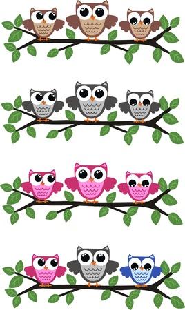 microstock: owls Illustration