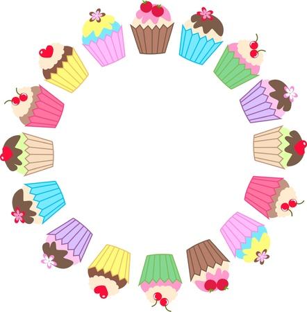 een frame van cupcakes