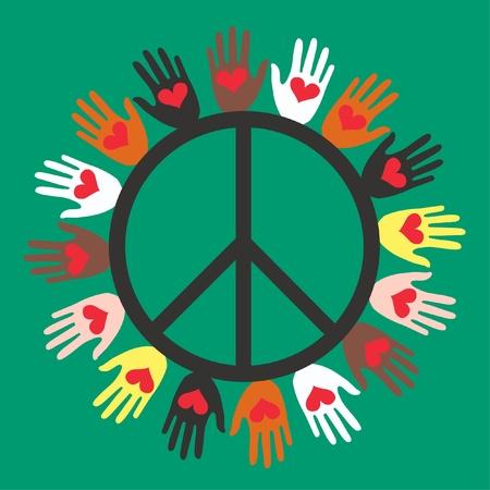 the peace: paz y amor Vectores