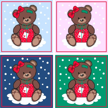 cute bears with a gift box Vector