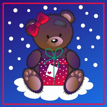 royalty free illustrations: a cute little bear with a gift
