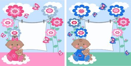 cartoons designs: bambino annuncio Vettoriali