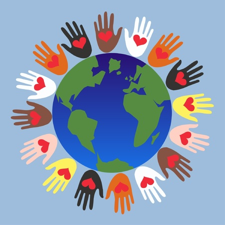paz mundial: manos que ayudan