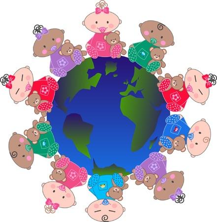 asian culture: misti bambini etnica Vettoriali