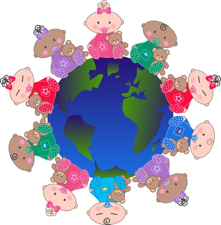 mixed ethnic babies Vector