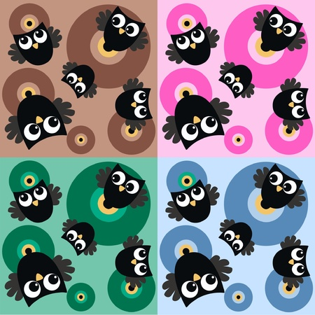 microstock: seamless owl pattern