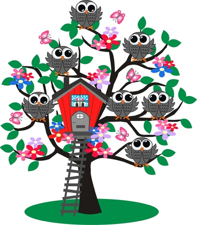card file: lot of owls in a tree Illustration
