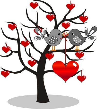 oiseau dessin: valentines day ou d'anniversaire Illustration