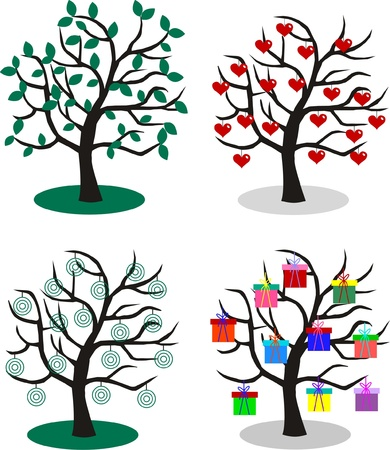 four different trees  Vector