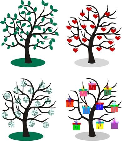 microstock: four different trees
