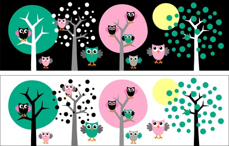 headers owls trees Stock Vector - 11615542