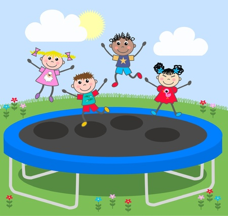 royalty free illustrations: trampoline