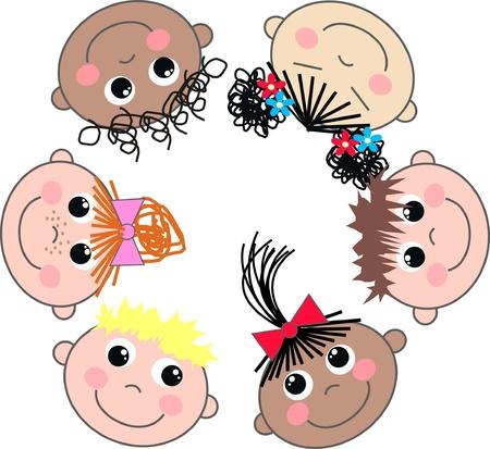 cartoons designs: misti ragazzi e ragazze etniche
