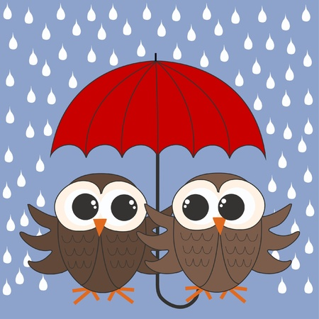 owls umbrella raining Stock Vector - 11750995