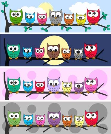caricaturas de animales: cuatro cabeceras b�ho diferentes
