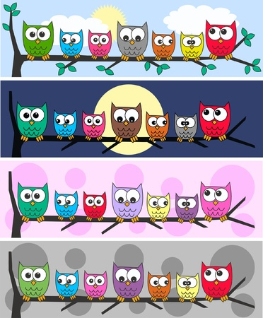 four different owl headers Vector