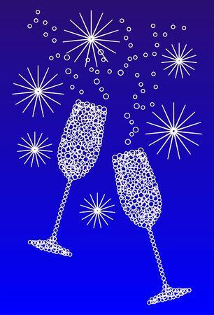 coupe de champagne: heureuse nouvelle ann�e Illustration