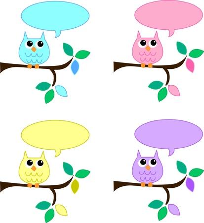 clr: owls with speech bubbles Illustration